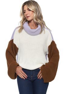 Suéter Colcci Tricot Color Block Off-White/Lilás