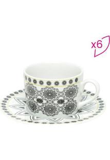 Jogo De Xícaras De Chá Kaleidoscope- Branco & Cinza-Bon Gourmet