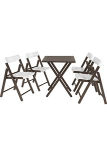 Jogo Mesa E 4 Cadeiras Tramontina Potenza 10630028 Tabaco Branco