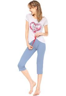 Pijama Malwee Liberta The Best Branco/Azul