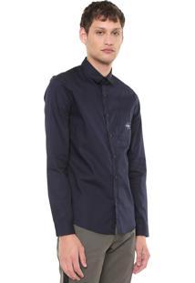 Camisa Calvin Klein Jeans Reta Logo Azul-Marinho