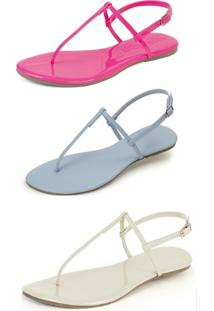 Kit 3 Pares Sandália Flat Rasteira Mercedita Shoes Pink/Azul Bb/Gelo