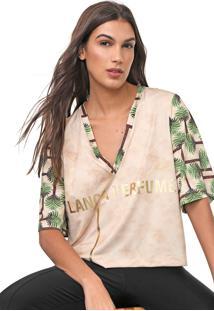 Camiseta Lança Perfume Estampada Bege/Verde