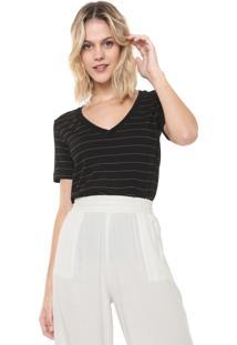 Camiseta Lez A Lez Delicate Stripe Preta