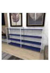Aparador Industrial Aço Cor Branco 180X30X98Cm (C)X(L)X(A) Cor Mdf Azul Modelo Ind55Azapr