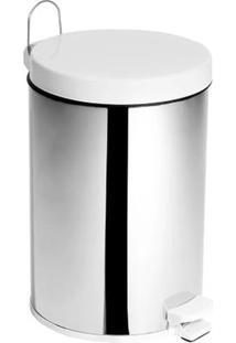Lixeira Em Aço Inox Com Tampa Plástica Purimax 5 Litros Branca