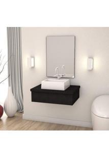 Conjunto Para Banheiro Gabinete Com Cuba Q32 E Espelheira 601W Metrópole Compace Preto Onix