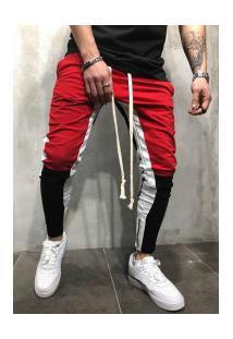 Calça Masculina Swag Unique Colors - Vermelho E Preto