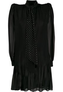 Saint Laurent Vestido Com Amarração Na Gola E Aplicações - Preto