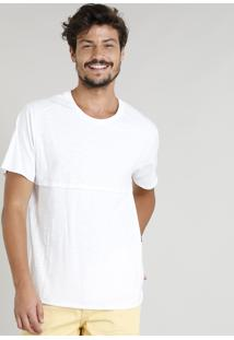 Camiseta Masculina Com Recorte Manga Curta Gola Careca Branca