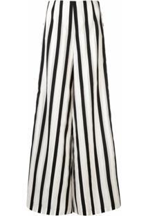 Semsem Calça Pantalona Listrada - Branco