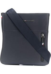 Tommy Hilfiger Logo Plaque Textured Messenger Bag - Azul
