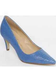 Scarpin Em Couro Liso Com Recorte - Azul - Salto: 7Cluiza Barcelos