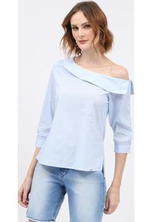 Blusa Listrada Com Botãµes - Azul & Brancascalon