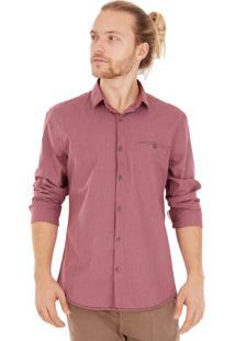Camisa Side Walk Camisa Xadrez Bolso Bordô