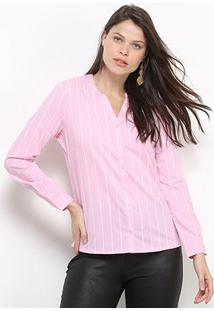Camisa Social Facinelli Listras Feminina - Feminino-Rosa