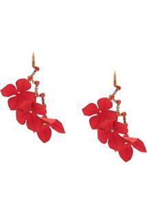 Marni Par De Brincos Oversized Floral - Vermelho