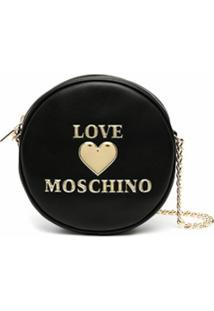 Love Moschino Bolsa Transversal Com Placa De Coração - Preto