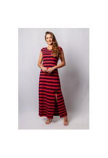 Vestido Pau A Pique Listrado Longo Marinho E Vermelho