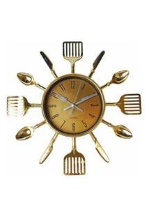 Relógio De Parede De Talheres Dourado 25 Cm – Imporiente