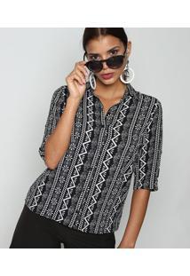Camisa Texturizada Abstrata- Preta & Branca- Intensintens