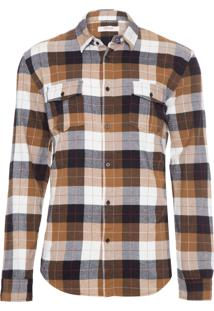 Camisa Masculina Colorado New Manga Longa - Marrom E Preto