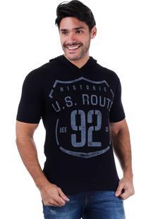 Camiseta Alongada Masculina Metropolitan - Preto