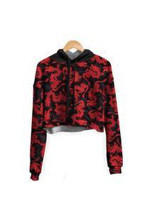 Blusa Cropped Moletom Feminina Dragão Chinês Vermelho Md01