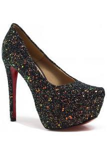 Sapato Zariff Shoes Pump Salto Fino Glitter
