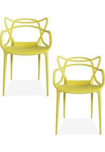 Kit 02 Cadeiras Decorativas Lyam Decor Amsterdam Amarelo. - Tricae
