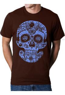 Camiseta Hshop Caveira Mexicana Marrom