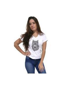 Camiseta Feminina Gola V Cellos Abstract Wolf Premium Branco