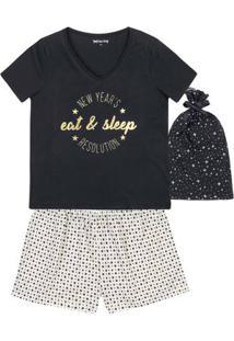 Pijama Feminino Em Malha De Algodão Com Kit Saquinho