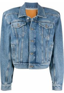 Vetements Jaqueta Jeans Com Matelassê Nos Ombros - Azul