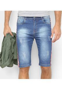 Bermuda Jeans Oxmo Estonada Listra Lateral Masculina - Masculino