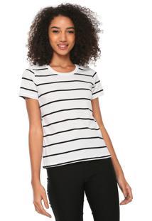 Camiseta Hering Reta Listrada Branca/Preta
