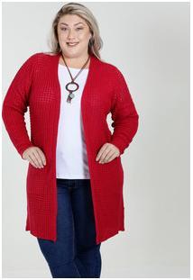 Cardigan Feminino Alongado Tricô Plus Size Marisa