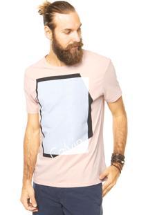 Camiseta Calvin Klein Jeans Geométrica Laranja