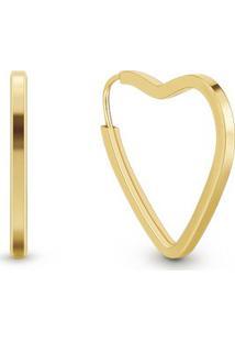 Argola Coração Ouro Amarelo 11 Mm