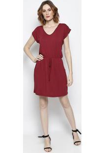 Vestido Com Bolsos- Vermelho Escuro- Vittrivittri
