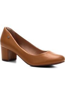 Scarpin Shoestock Salto Bloco - Feminino-Castanha