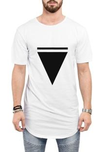 Camiseta Criativa Urbana Long Line Oversized Triângulo - Masculino-Branco