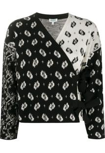 Kenzo Cardigan Ikat And Urchin Waves Com Estampa - Preto