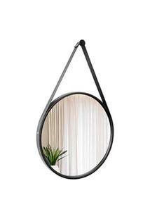 Espelho Decorativo Adnet Preto Com Alça Em Corino Preta 50Cm Redondo - E2G Design