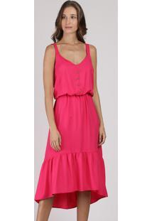 Vestido Feminino Midi Mullet Com Botões Alça Média Pink