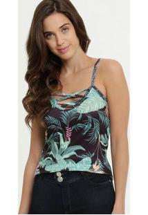 Blusa Feminina Estampa Tropical Decote Strappy