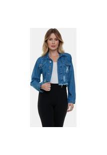 Jaqueta Jeans Curta Destroyed Cropped Ii Feminina Azul Escuro
