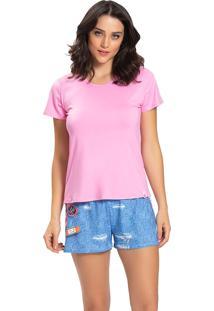Pijama Recco Viscose Malha Touch Rosa