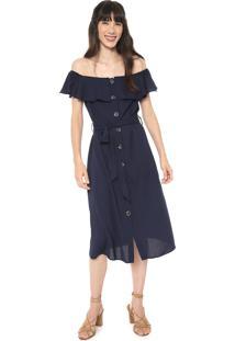 Vestido Facinelli By Mooncity Midi Ombro A Ombro Azul-Marinho