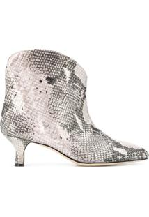 Paris Texas Ankle Boot Com Estampa Pele De Cobra - Rosa